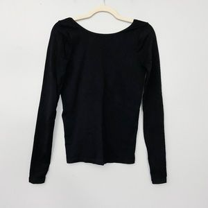 Free People Open Back Long Sleeve Layering Top M/L